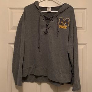 VS pink Michigan lace up hoodie grey size L